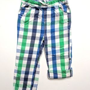 Mini Boden Baby Plaid Check Rollup Pants 3-4